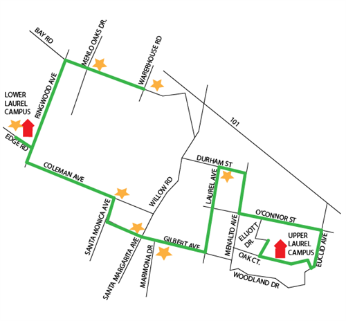 Upper Campus PM Bus Route