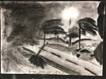 Charcoal drawing of street after Hurrican Harvey.