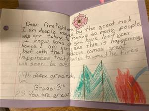 Thank you note from student to fire fighter