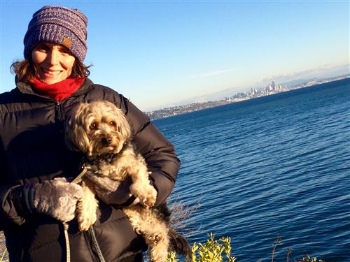 Ms. Mihaly with her dog, Skai.