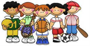 Graphic of children with sports balls