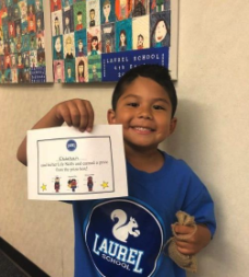 Laurel student shares his Character Trait certificate