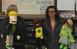 Oak Knoll counselor and psychologist perform Embracing Our Differences puppet show
