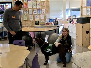 Therapy dog named Eclair visits teacher Jacky Schlegel's classroom