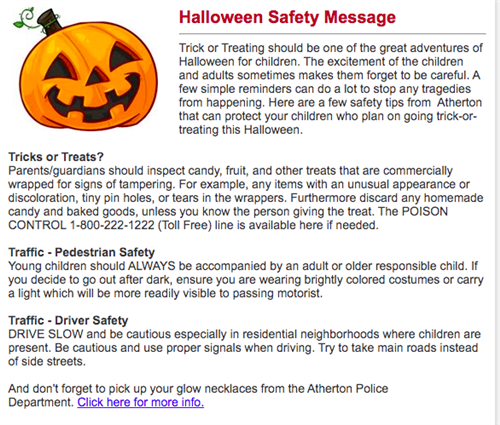 Halloween Safety Message